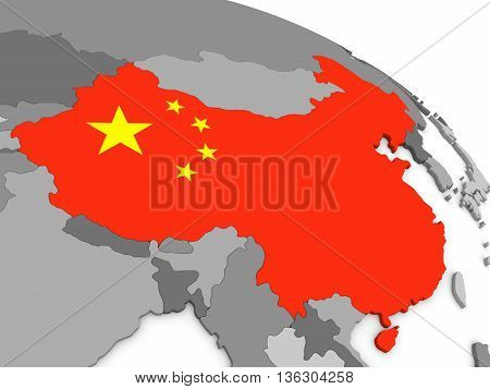 China On Globe With Flag
