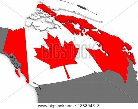 Canada On Globe With Flag