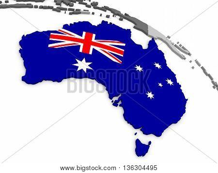 Australia On Globe With Flag