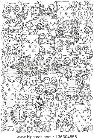 Pattern for coloring book. Owls. A4 size. Black and white background. Artistically drawn, zentangle, stylized, feathers