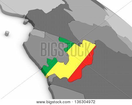 Congo On Globe With Flag