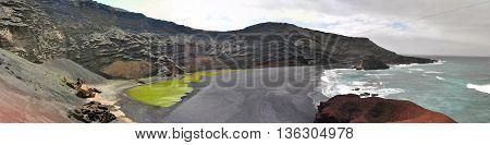 Panoramic view over El Gordo on spanish volcanic island Lanzarote