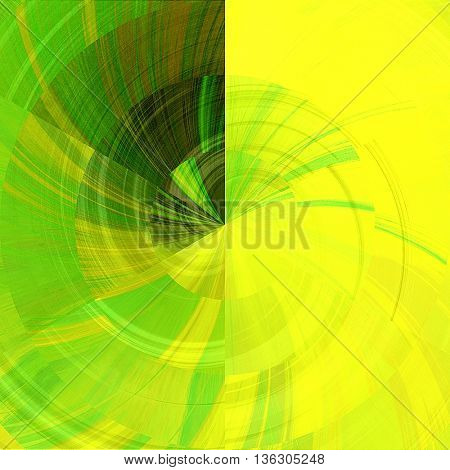 art abstract graphic spherical monochrome blurred background in green, gold and yellow colors; geometric pattern