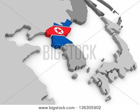 North Korea On Globe With Flag