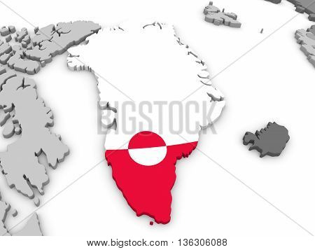 Greenland On Globe With Flag