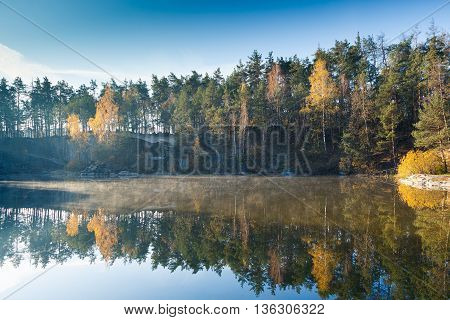 Fragment Of The Lake In The Autumn Forest