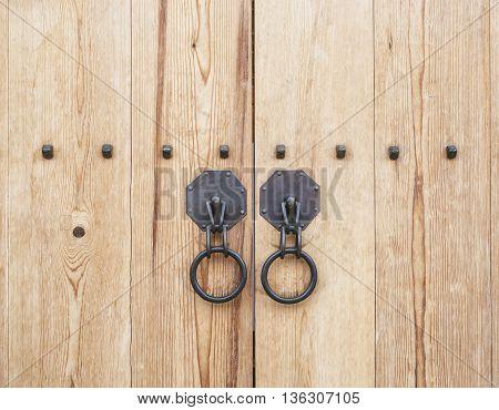 Wooden Door gate with door knob Architecture detail Korean culture