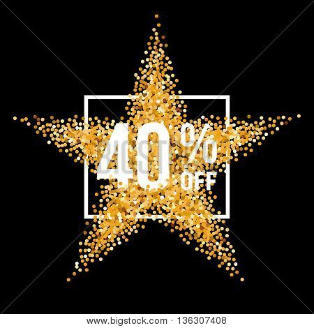 Golden Star and Frame with Discount Forty Percent on Black Background