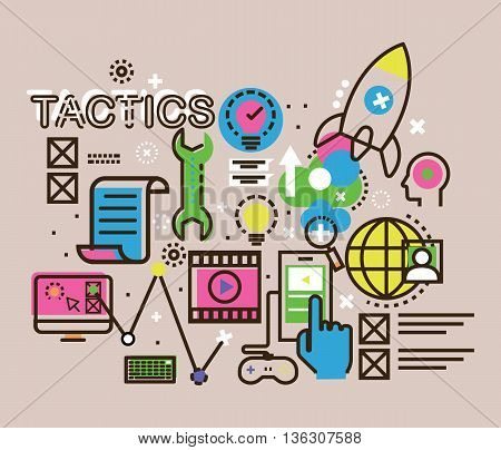 Modern thin line design concept for tactics icon strategy career progress and business processmarket research analysis planning business management.line pictograms and infographics design