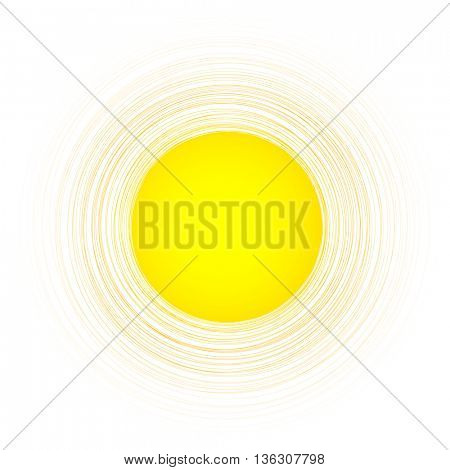 Yellow sunny round background. Vector paper illustration.