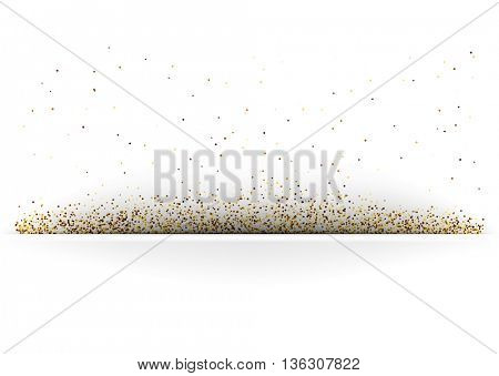 White paper banner with sand. Vector illustration.
