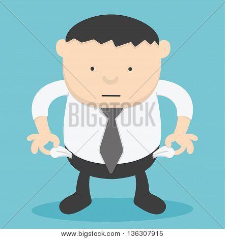 Businessman no moneyvector illustrationOverweight businessman Illustration Concept