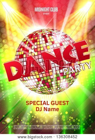 Dance Party Poster Background Template - Vector Illustration. Disco ball.