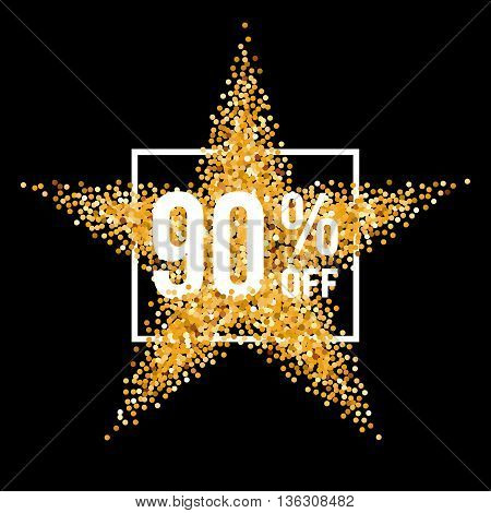 Golden Star and Frame with Discount Ninety Percent on Black Background