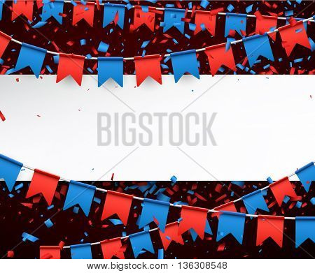 Banner with garlands of red and blue flags. Vector illustration.