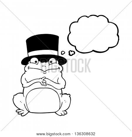 freehand drawn thought bubble cartoon frog in top hat