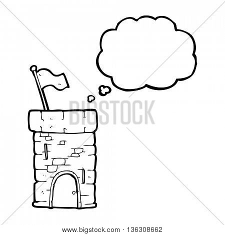 freehand drawn thought bubble cartoon old castle tower