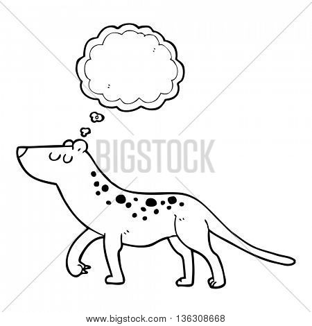 freehand drawn thought bubble cartoon leopard