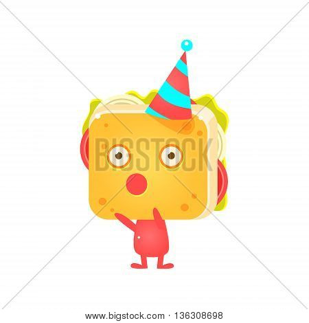 Sandwich Character In Party Hat Booing Flat Childish Funny Design Vector Drawings Isolated On Dark Background
