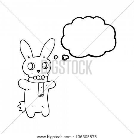 freehand drawn thought bubble cartoon spooky skull rabbit