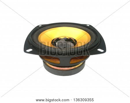 close up Loudspeaker on isolated white background
