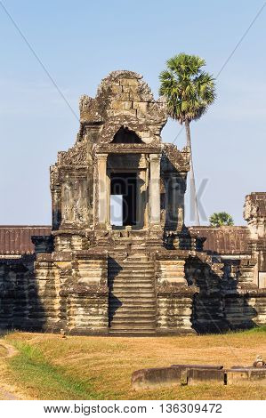 Building in Angkor Wat (largest religious temple monument in the world). Siem Reap Cambodia. UNESCO World Heritage Site.