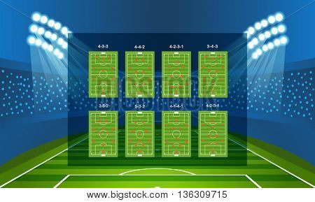 Different soccer team arrangement. Football infographic template
