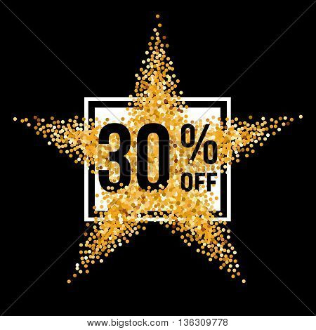Golden Star and Frame with Discount Thirty Percent on Black