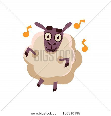 Sheep Dancing With Music Cute Childish Style Bright Color Design Icon Isolated On White Background