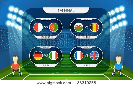 Different country flags collection. Football infographic template