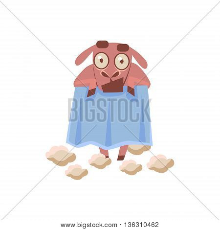 Sheep Naked After Shaving Cute Childish Style Bright Color Design Icon Isolated On White Background