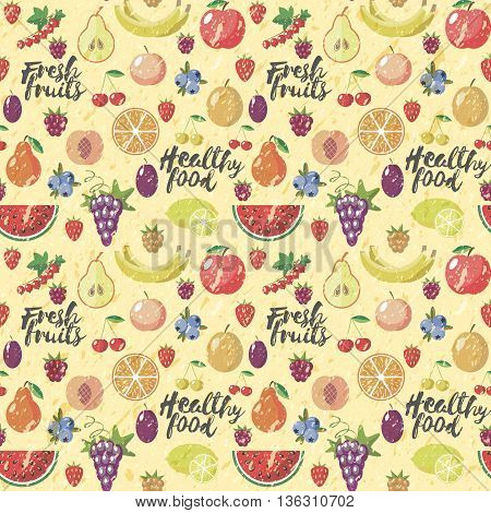 Fresh fruits flat style seamless background. Healthy food patern. Vector. Old style. Grange.