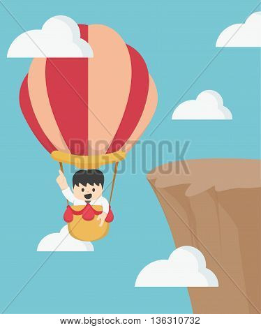 Businessman in hot air balloon fly Illustration Concept