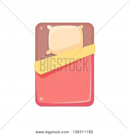 Bed View From Above Cute Childish Style Light Color Design Icon Isolated On White Background