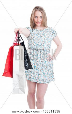 Attractive Stylish Woman Offer Gift Or Shopping Bags