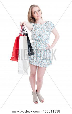 Full Body Of Shopping Woman With Bags