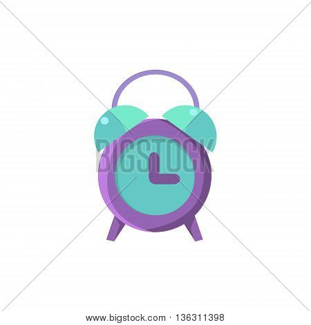 Old-school Alarm Clock Cute Childish Style Light Color Design Icon Isolated On White Background