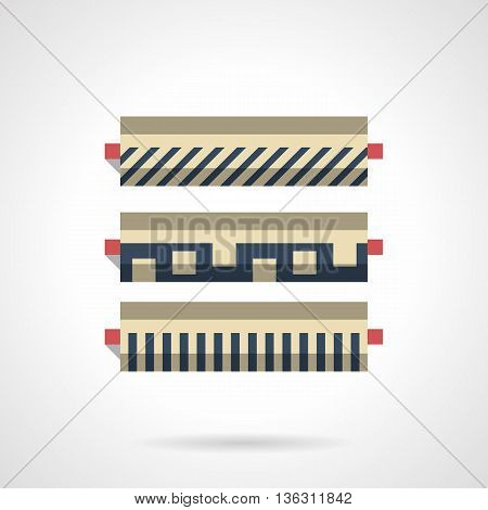 Store of construction materials. Shelves with linoleum rolls with different pattern. Renovation of floor covering. Flat color style vector icon.