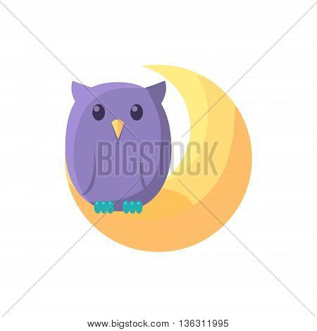 Owl Sitting On Crescent Cute Childish Style Light Color Design Icon Isolated On White Background