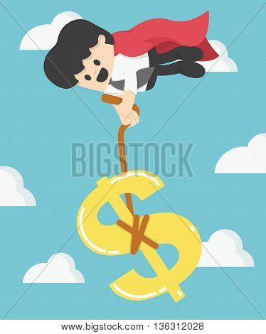 Super Business pulling dollar sign not let the money fall