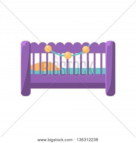 Little Baby Bed Cute Childish Style Light Color Design Icon Isolated On White Background