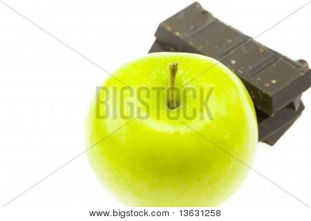 Apple And Chocolate Isolated On White