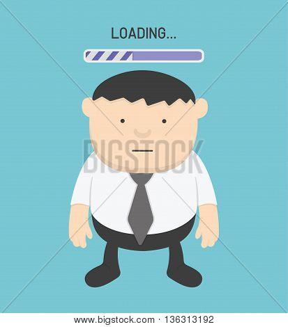 Businessman watching the clock and progress loading bar