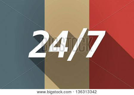 Vector Long Shadow France Flag With    The Text 24/7