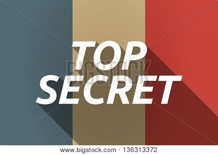 Vector Long Shadow France Flag With    The Text Top Secret