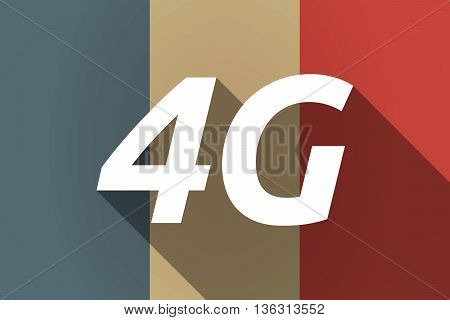 Vector Long Shadow France Flag With    The Text 4G