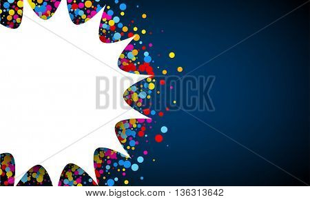 Blue and white background with color confetti. Vector paper illustration.