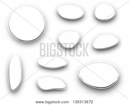 Set of white oval and round backgrounds. Vector paper illustration.