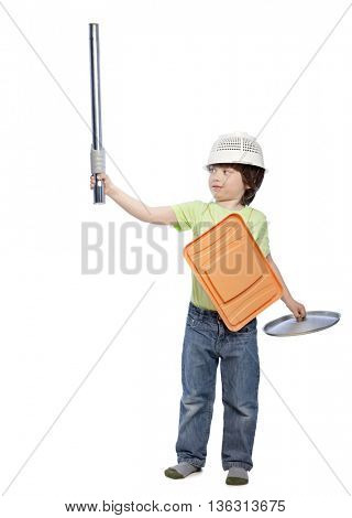 boy playing knight using cookware isolate on white