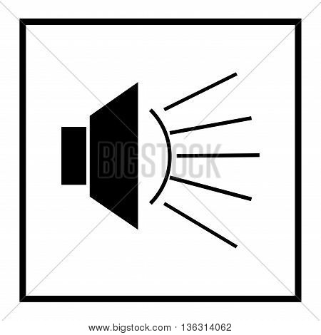 Ioudspeaker icon in black square on white background. Warning sign. Object communication. Alarm mark. Symbol broadcast volume and audio. Flat vector image. Vector illustration.